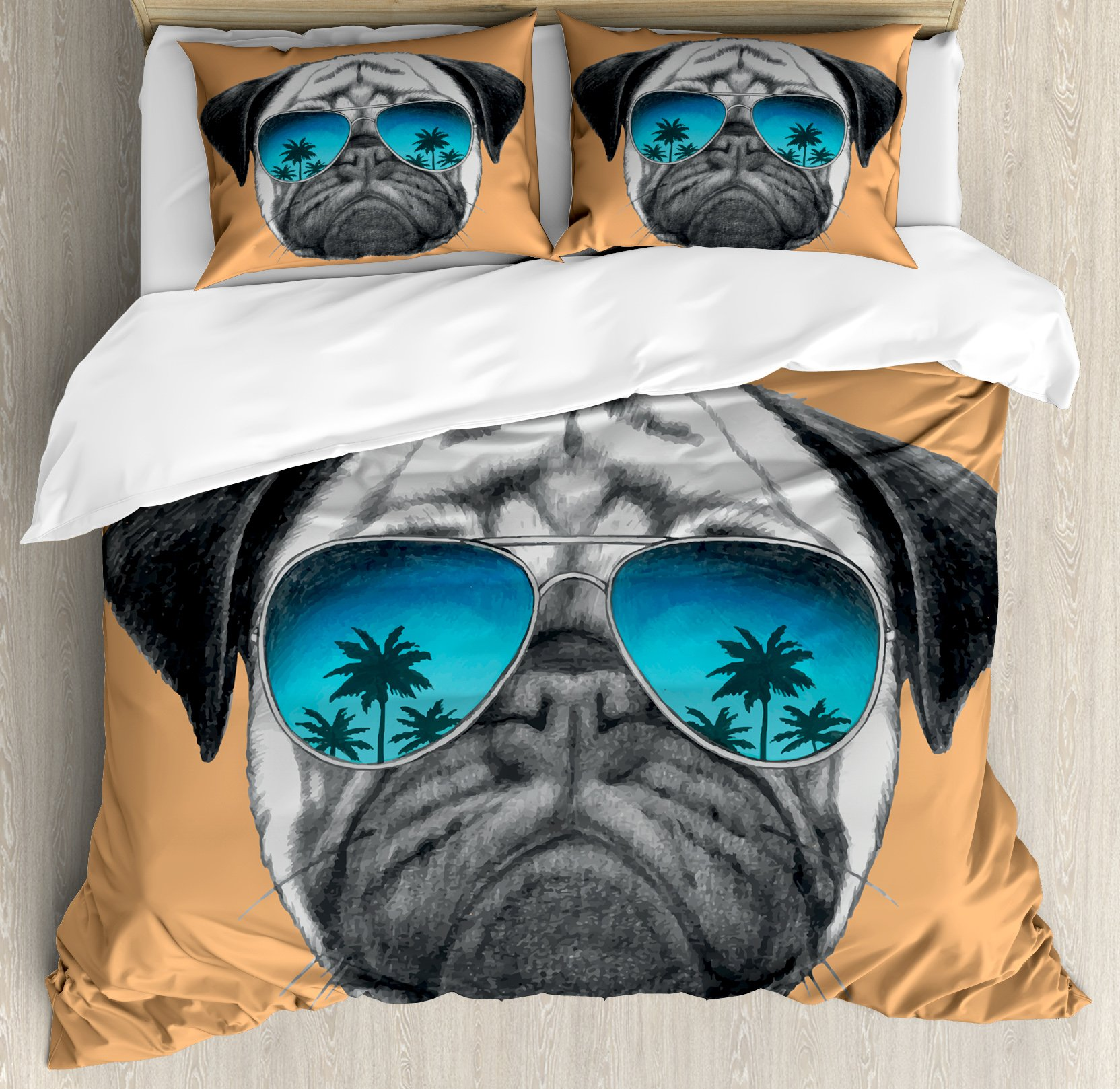 Pug Duvet Cover Set King Size by Ambesonne, Dog with Reflecting Aviators Palm Trees Tropical Environment Cool Pet Animal, Decorative 3 Piece Bedding Set with 2 Pillow Shams, Black Orange Blue