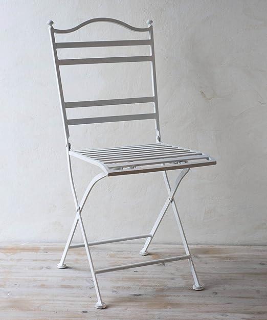 Sedie In Ferro Battuto Bianche.Sedia In Ferro Battuto Bianco Amazon It Giardino E Giardinaggio