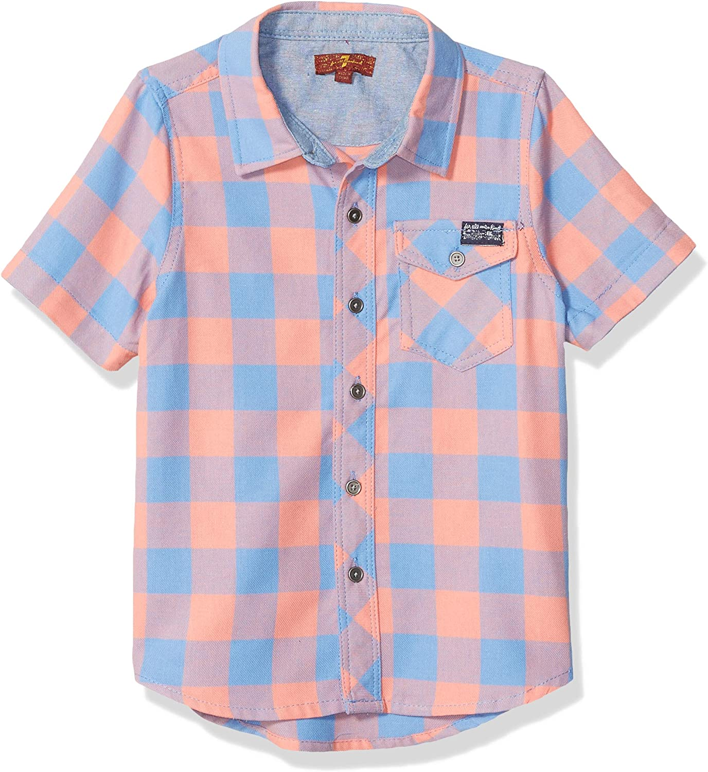7 For All Mankind Boys' Button Up Short Sleeve Shirt