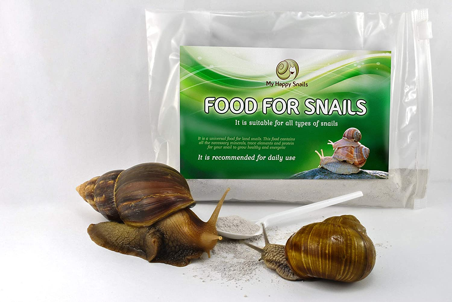 Land SnailFood - Land Snail Food Protein + Calcium + Minerals - for All Types of Pet Snails : Garden Snail, Giant African Snail, Helix Aspersa, Pomatia etc