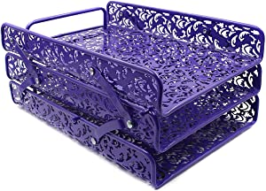 EasyPAG 3 Tier Desk Tray Carved Hollow Flower Pattern Design Triple Letter Tray,Purple