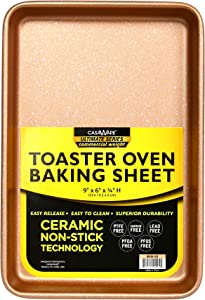 casaWare 9 x 6 x 0.75-Inch Toaster Oven Ultimate Series Commercial Weight Ceramic Non-Stick Coating Baking Pan (Rose Gold Granite)