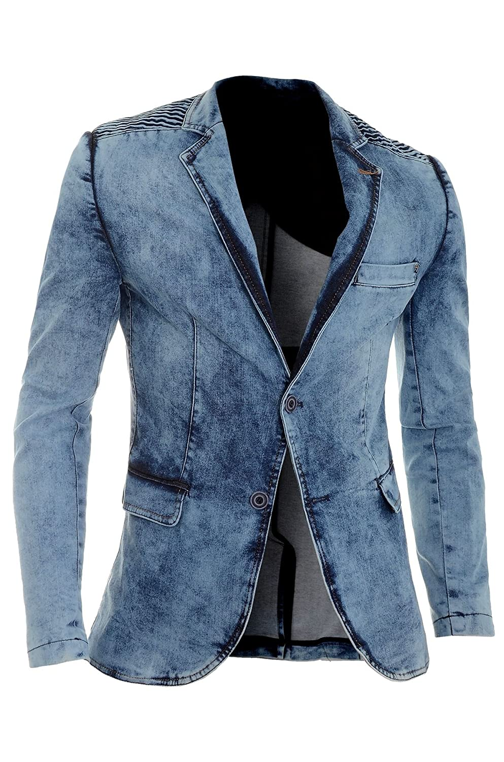 D&R Fashion Men's Denim Blazer Jacket Dark Blue Slim Fit Marble Print Cotton Ribbed Arms New