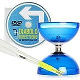 Blue Cyclone Quartz 2 Triple Bearing Diabolo & White Superglass Diablo Sticks Set with Diabolo Directions DVD!