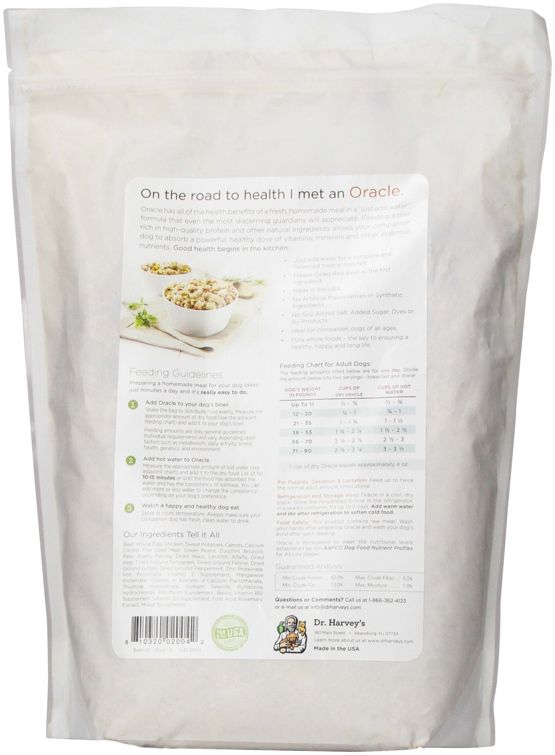 Dr. Harvey's Oracle Freeze-Dried Raw Complete Diet for Dogs, Grain-Free Beef, 3-Pound Bag