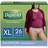Depend FIT-FLEX Incontinence Underwear for Women, Disposable, Maximum Absorbency, XL, Blush, 26 Count