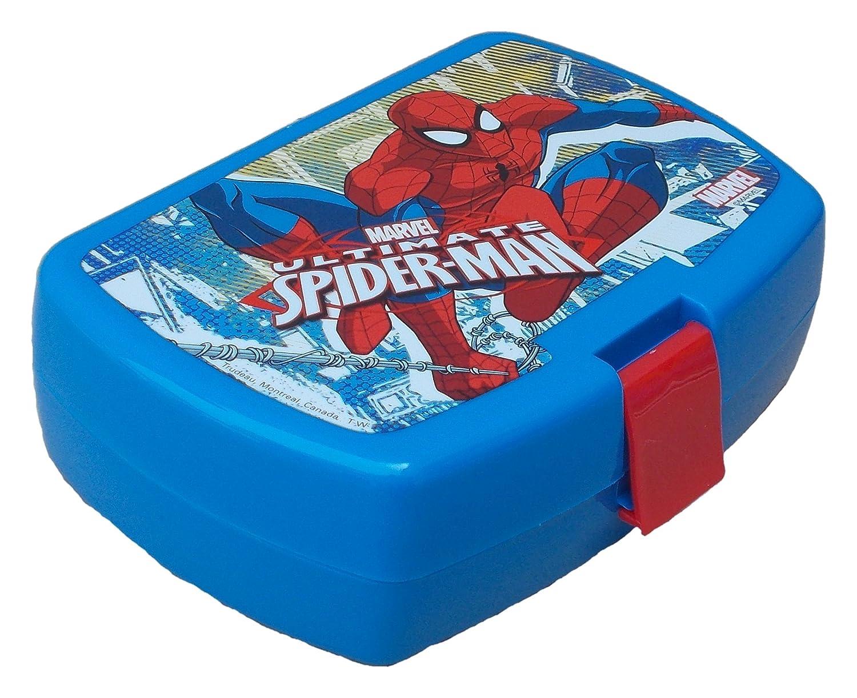 KIDS EUROSWAN - Contenitore porta panini, motivo Spiderman, in plastica, multicolore, 15x 10x 5cm SP15190