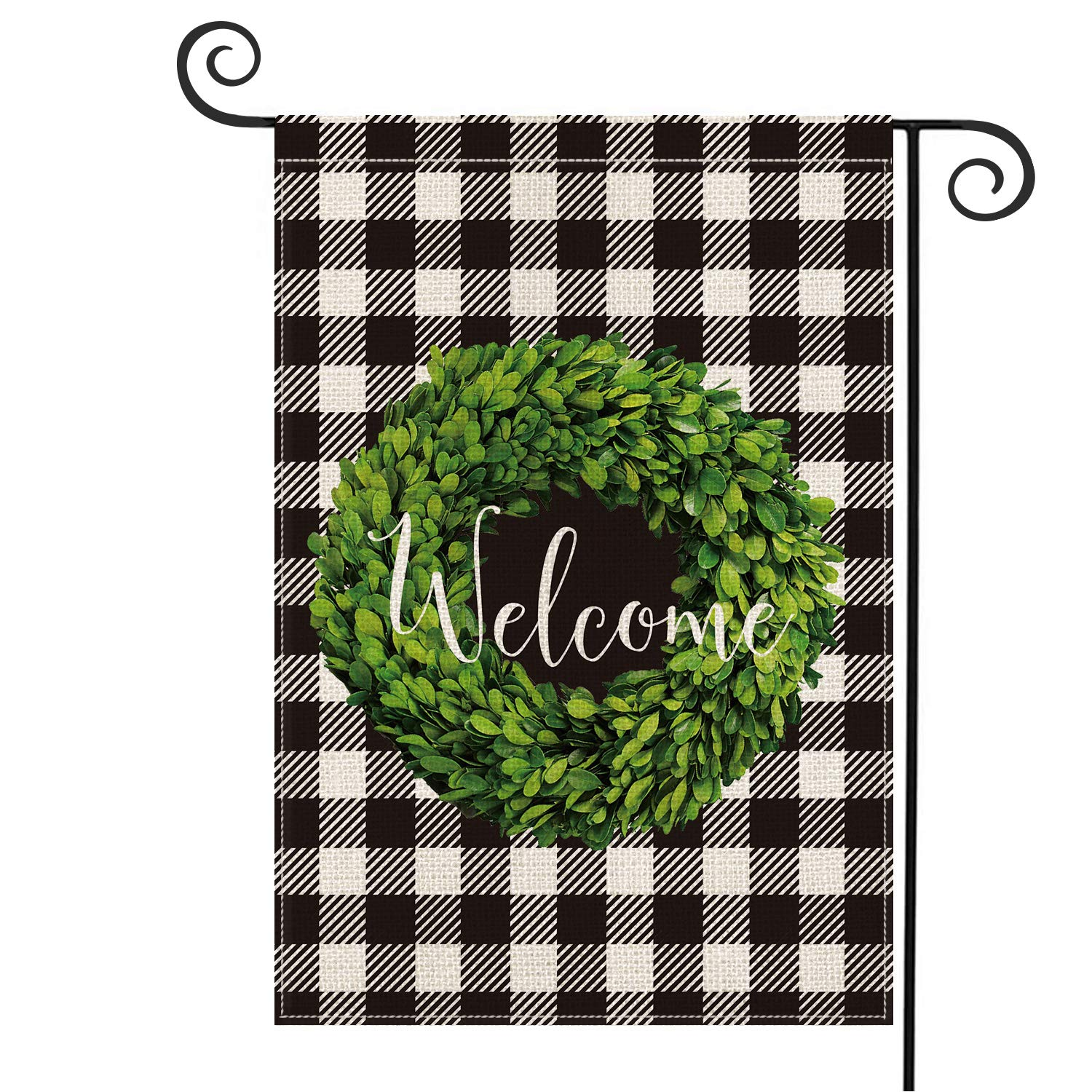 AVOIN Fall Boxwood Wreath Welcome Garden Flag Vertical Double Sided, Buffalo Check Plaid Rustic Farmhouse Burlap Flag Yard Outdoor Decoration 12.5 x 18 Inch
