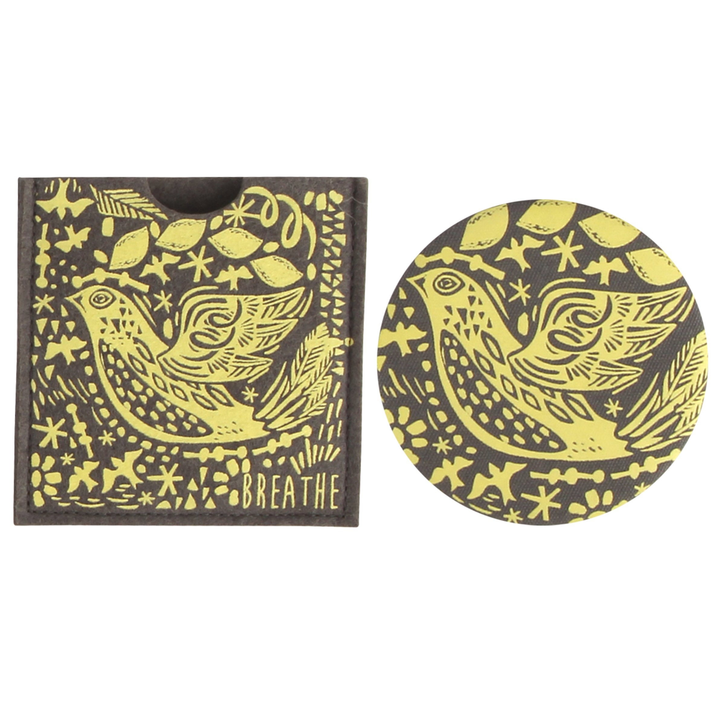 Karma Gifts Modern Folkloric Button Mirror, Bird