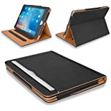 "MOFRED® New Black & Tan 9.7 inch Apple iPad Pro (Launched 2016) Leather Case-MOFRED®- Executive Multi Function Leather Standby Case for Apple New iPad Pro 9.7"" with Built-in magnet for Sleep & Awake Feature -- Independently Voted by ""The Daily Telegraph"" as #1 iPad Case!"