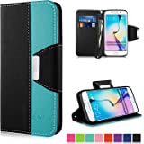 Galaxy S6 Edge Case - Vakoo [Book Style] Premium-PU Leather [Mobile Phone Protector Cover] Flip Wallet Case for Samsung Galaxy S6 Edge 2015 (Blue Black)