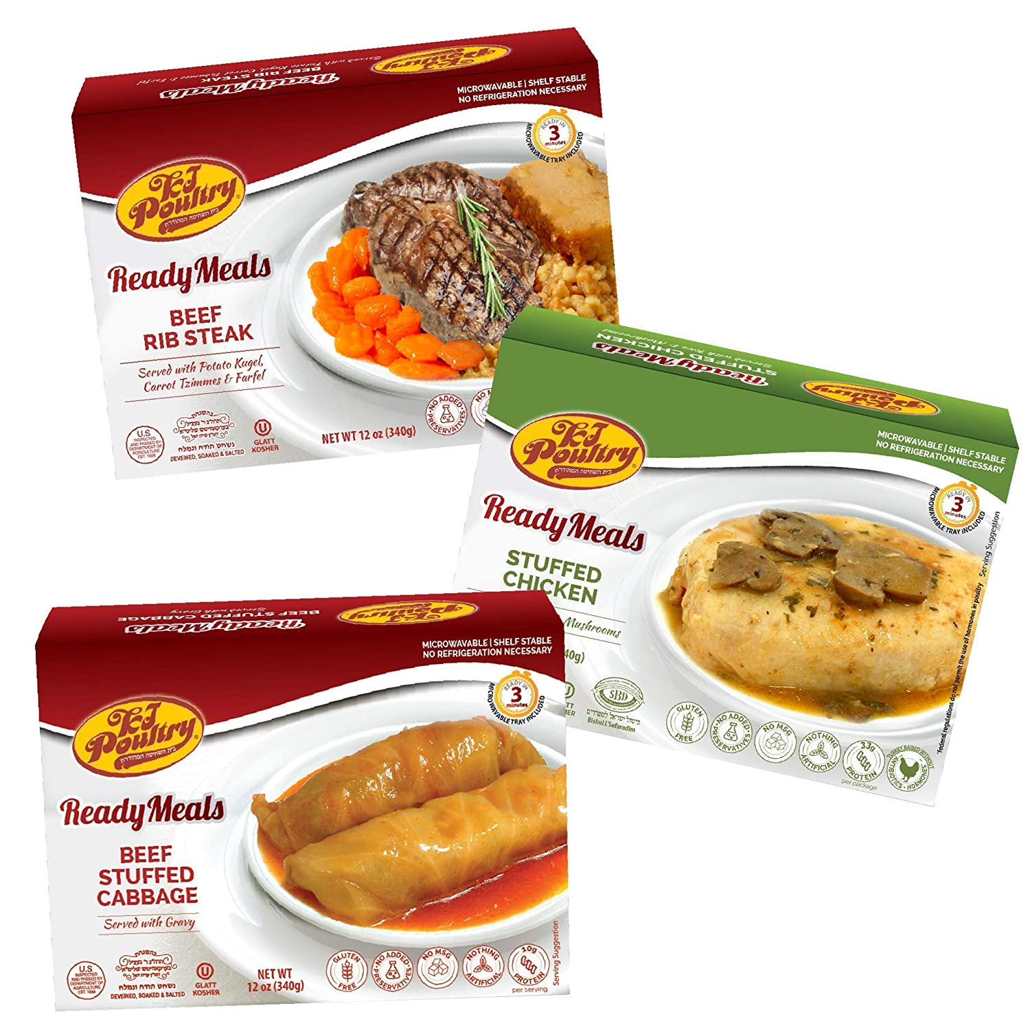 Kosher Mre Meat Meals Ready to Eat, Variety of Beef Rib Steak, Stuffed Cabbage Rolls, Chicken Breast (3 Pack Bundle) - Prepared Entree Fully Cooked, Shelf Stable Microwave Dinner