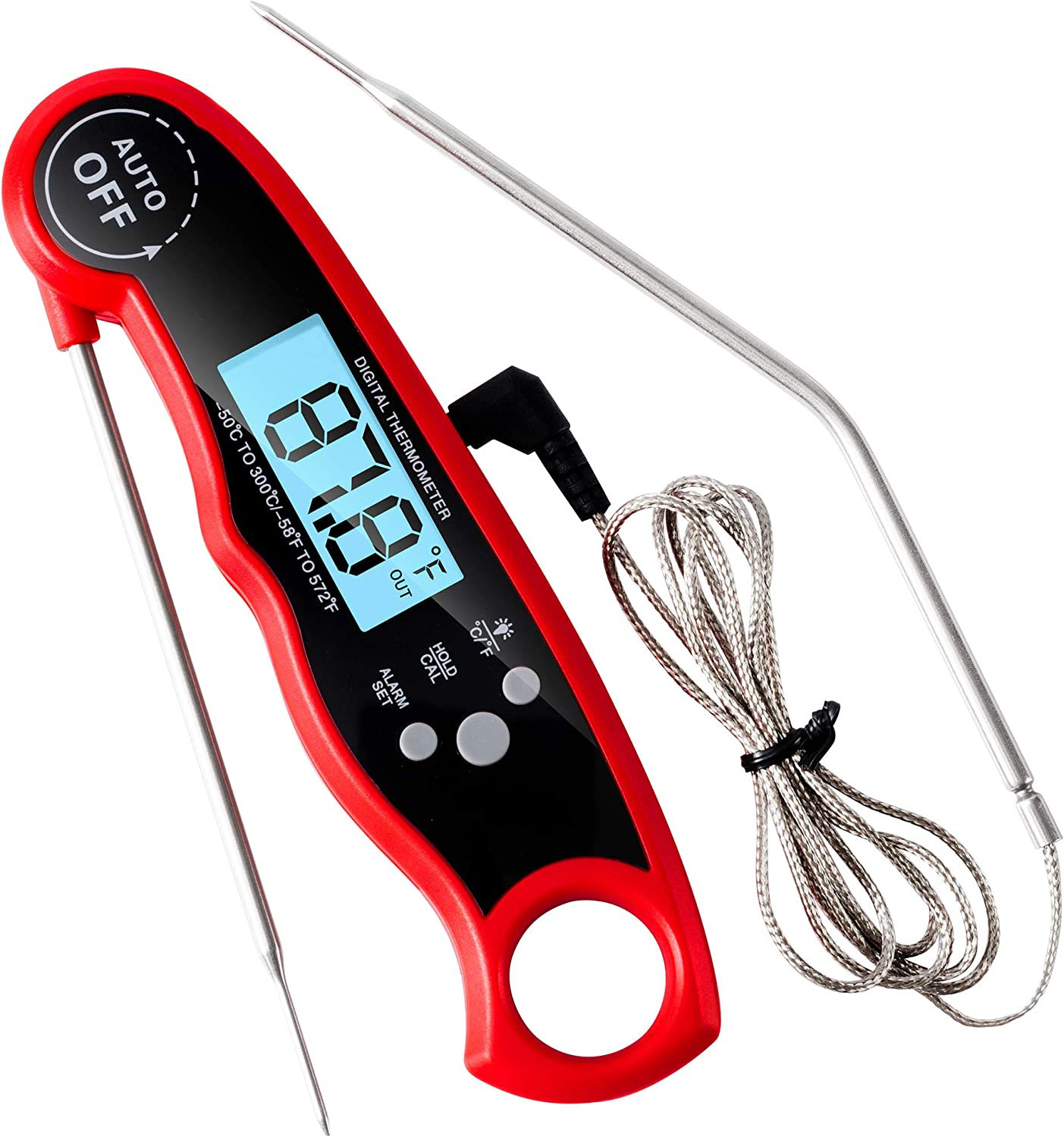 Olaosiry Meat Thermometer for Food Cooking- Digital Probe Thermometer Instant Read Grilling Thermometer Oven Safe - Dual Probe Thermometer for Turkey BBQ with Alarm (Red)