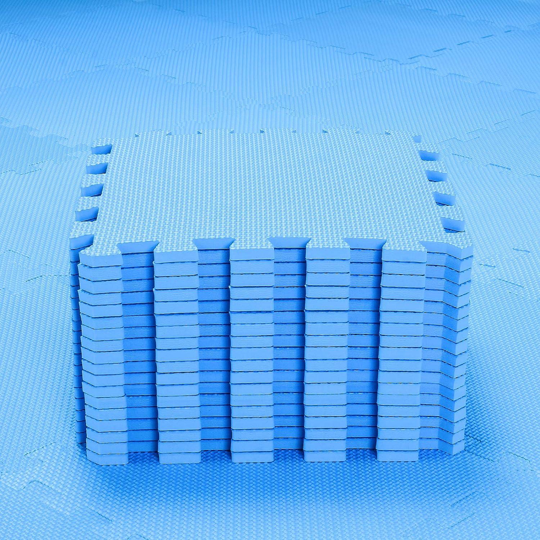 qqpp Alfombra Puzzle para Niños Bebe Infantil - Suelo de Goma EVA Suave. 18 Piezas (30*30*1cm), Azul.QQC-Gb18N