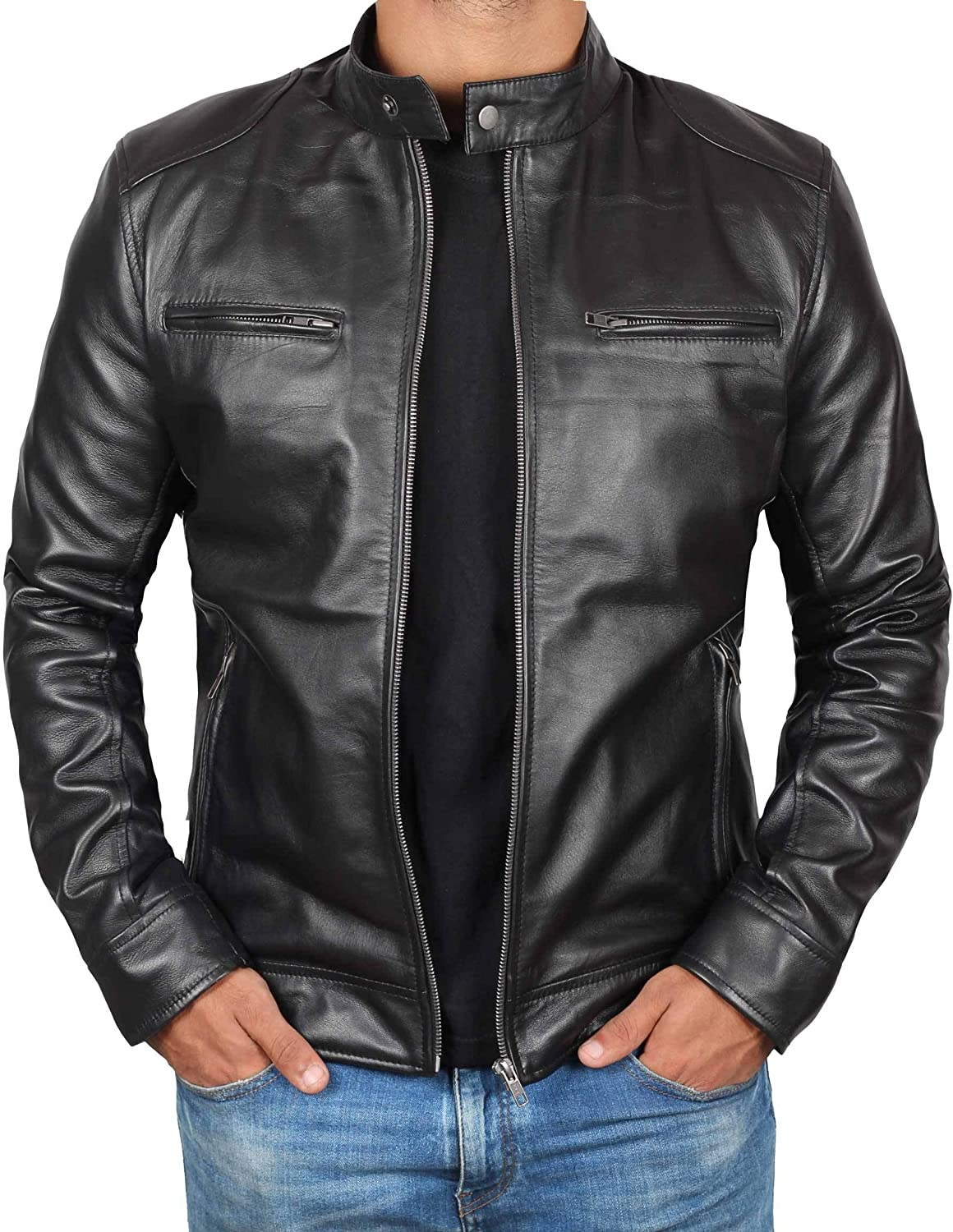 sviluppo di Diplomatico Seguire  Genuine Black Leather Jacket Men - Lambskin Lightweight Mens Leather Jackets  at Amazon Men's Clothing store