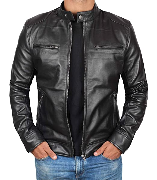Amazon.com: Chaqueta de piel auténtica negra para hombre ...