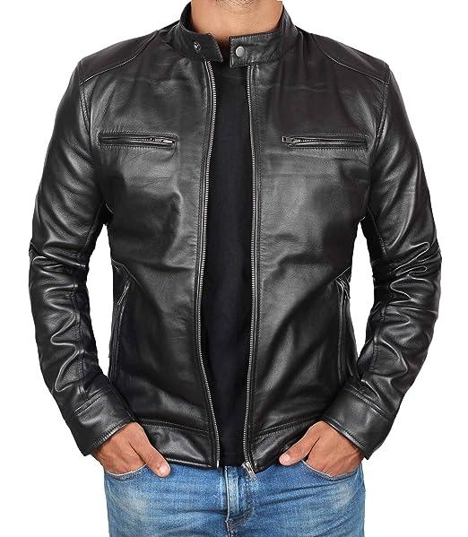 online retailer cheaper good selling Genuine Black Leather Jacket Men - Lambskin Lightweight Mens Leather Jackets