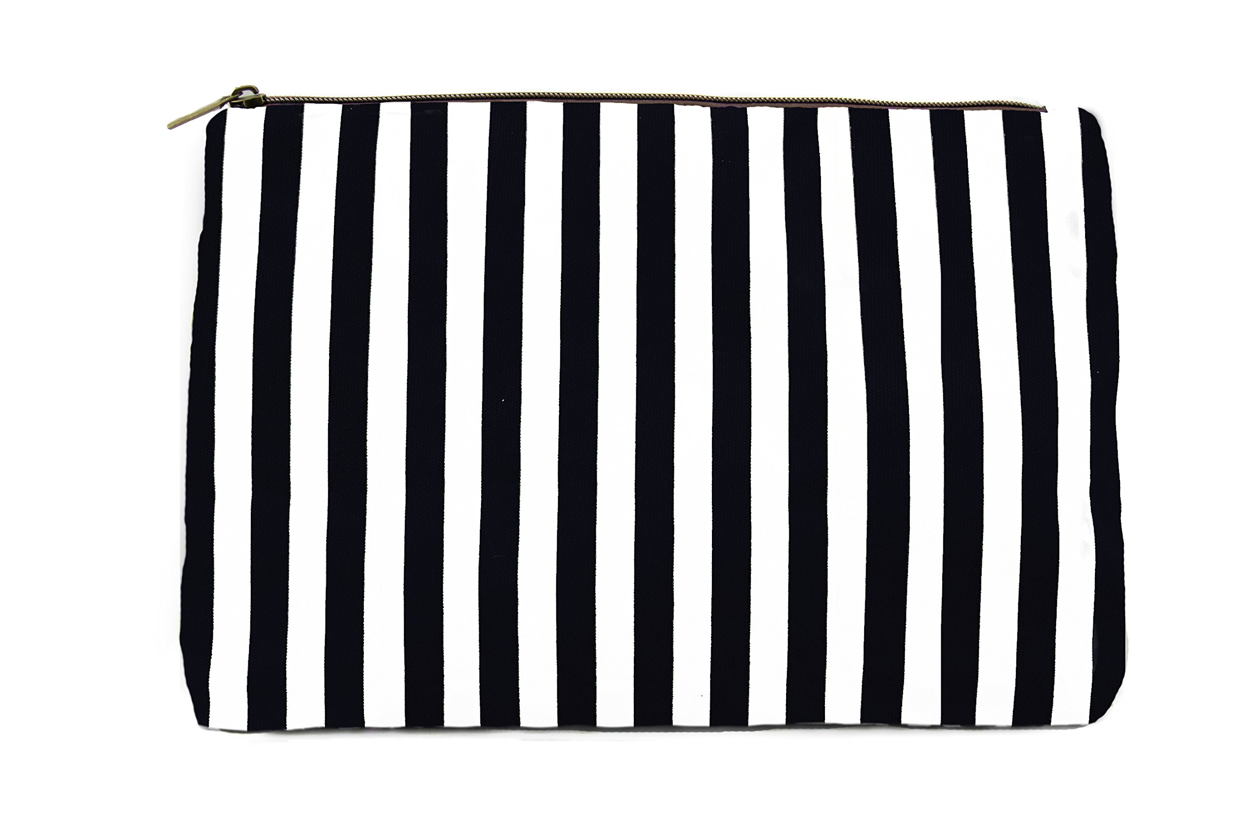Limited Time Sale - Black Womens Striped Cosmetic Bag, Makeup Bag, Toiletry Bag, Organizer Bag, Small Travel Bag, Cosmetic Case, Makeup Pouch, Wallet, Jewelry Travel Bag (Black) - MSRP $38