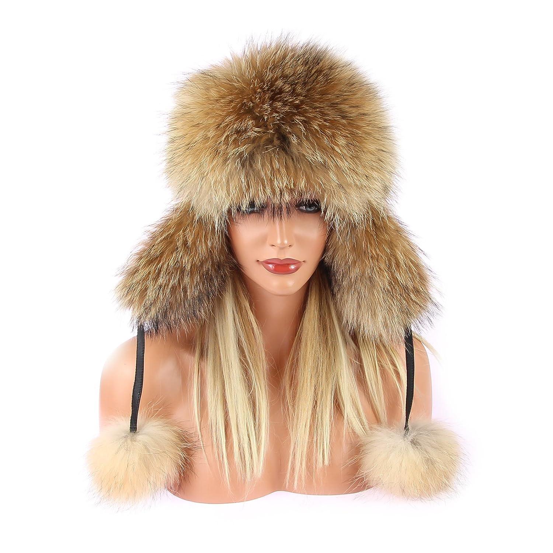 Damen Waschbär Mütze Pelzmütze Fellmütze FUCHS Leder Fliegermütze Wintermütze Skimütze Fox Uschanka Polarmütze Russische Mütze EchtFell Naturtöne