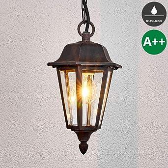 Aussen Pendel Leuchte Lampe IP44 E27 in antik gold Hänge Lampe Beleuchtung Hof