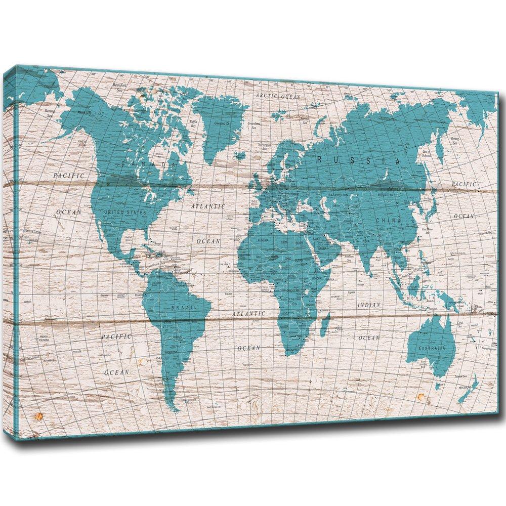visual art decor retro detailed map of the world canvas prints