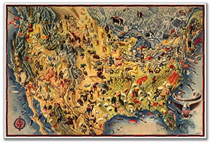 9962b056 Birds Eye View MAP of the USA & Mexico by Miguel Covarrubias circa 1942 -  measures