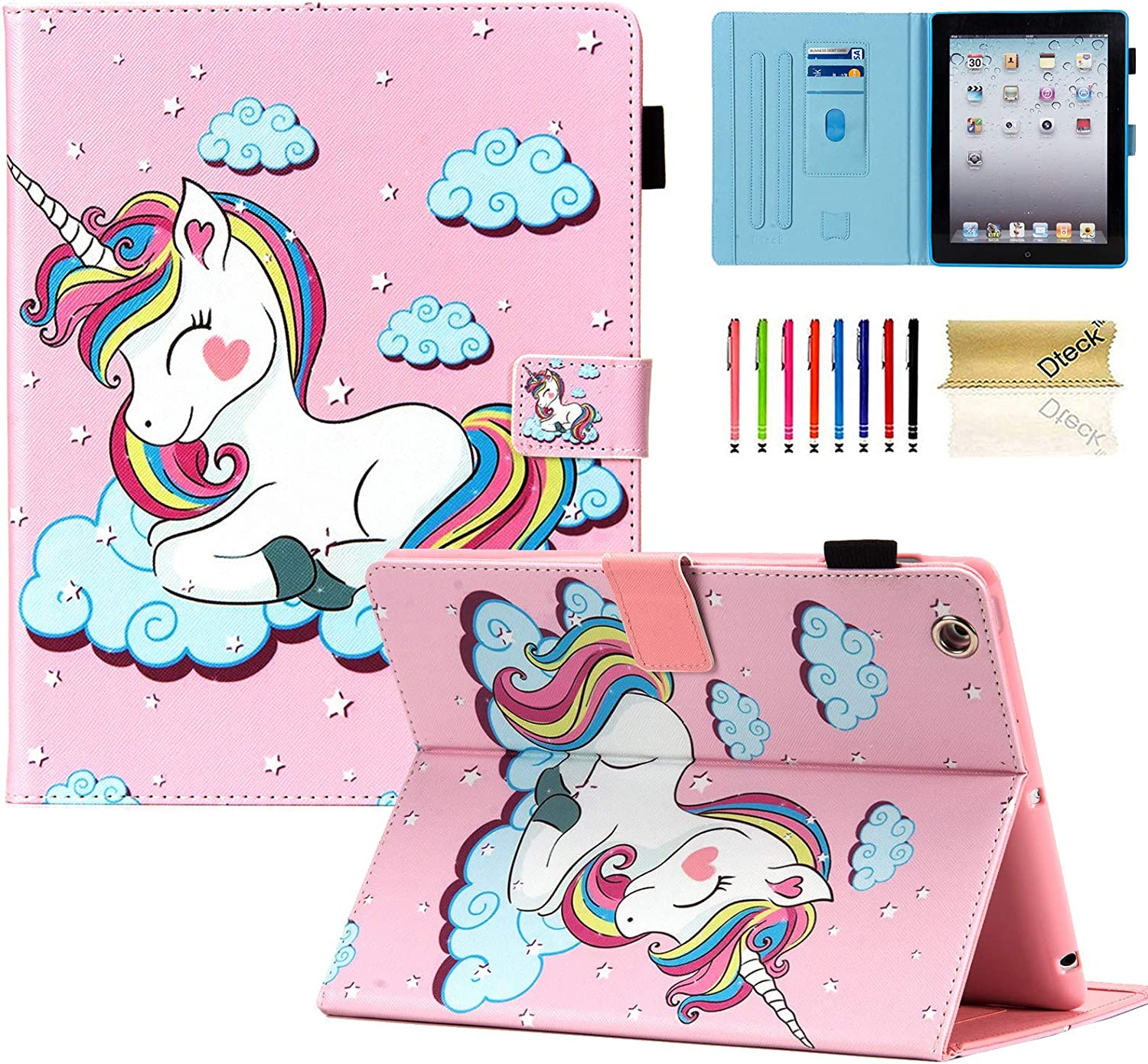 iPad 2 Case, iPad 3 Case, iPad 4 Case, iPad 2/3/4 9.7 inch Case, Dteck PU Leather Folio Adjustable Stand Auto Wake/Sleep Smart Wallet Case for Apple iPad 2nd 3rd 4th Generation, Pink Unicorn