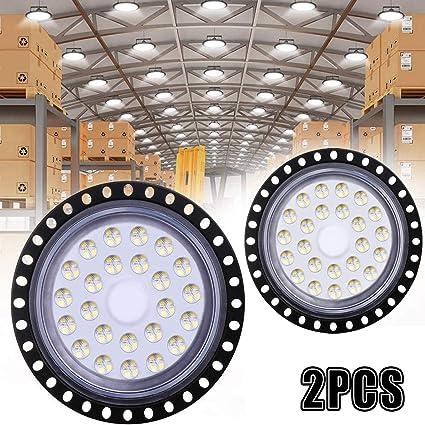 2Pcs UFO LED Iluminación, WZTO 5000LM 50W Techo de Cristal 6000K-6500K Impermeable IP65, Brillante Iluminación Comercial Bahía Luces Almacén led Lámpara de Techo de Cristal- Garantía de 2 años