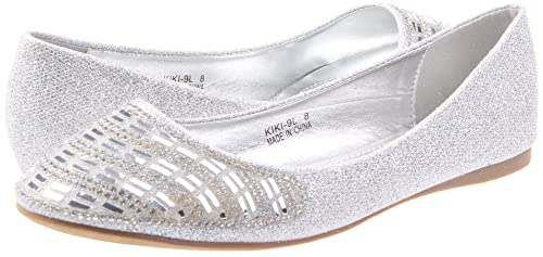 0e73761658 Image Unavailable. Image not available for. Color: DbDk Women's Casual  Pointed Toe Slip On Rhinestone Fashion Dress Ballet Flat ...