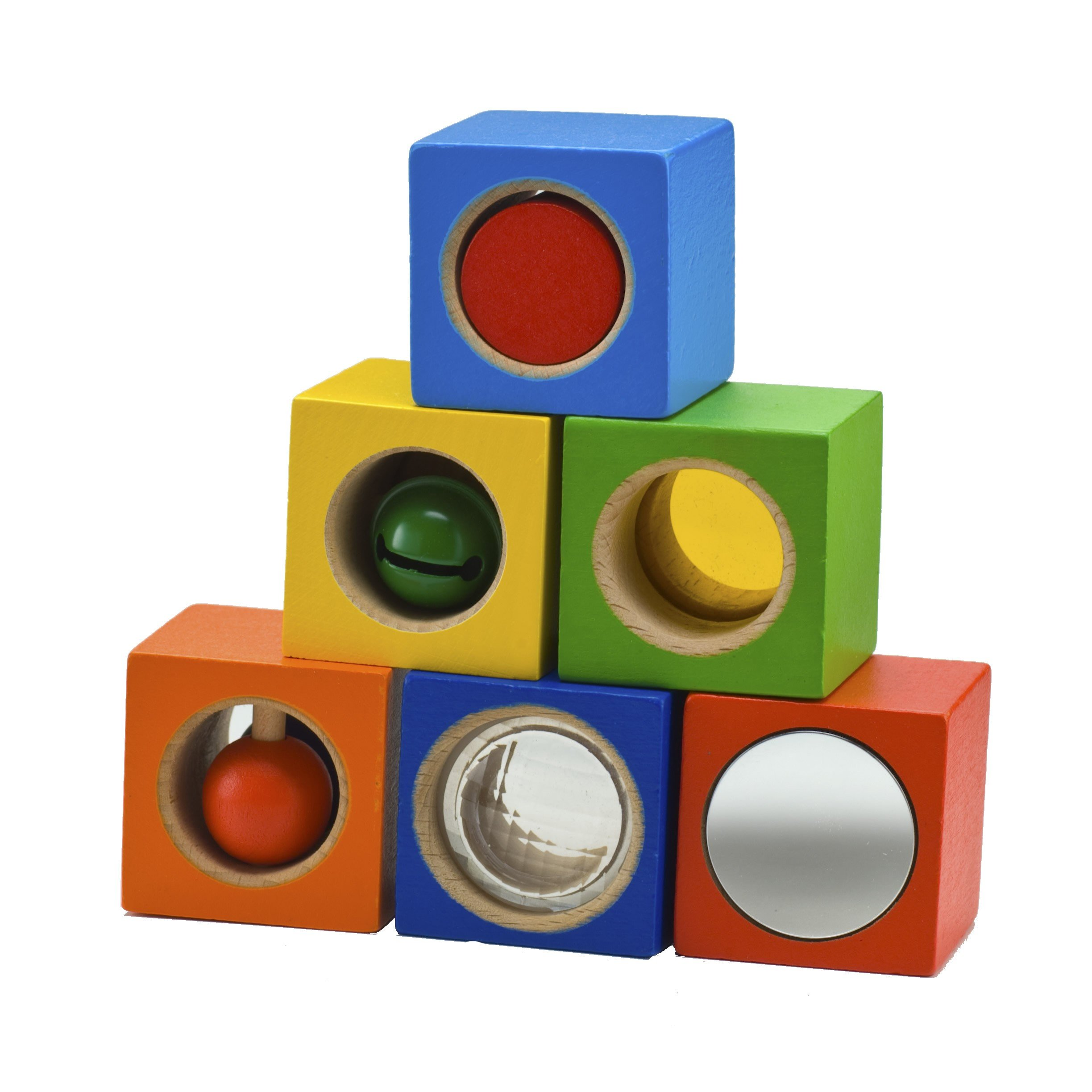 HABA Stack & Learn Blocks - 6 Colorful Wooden Cubes with Accoustic & Optical Effects for Ages 12 Months and Up