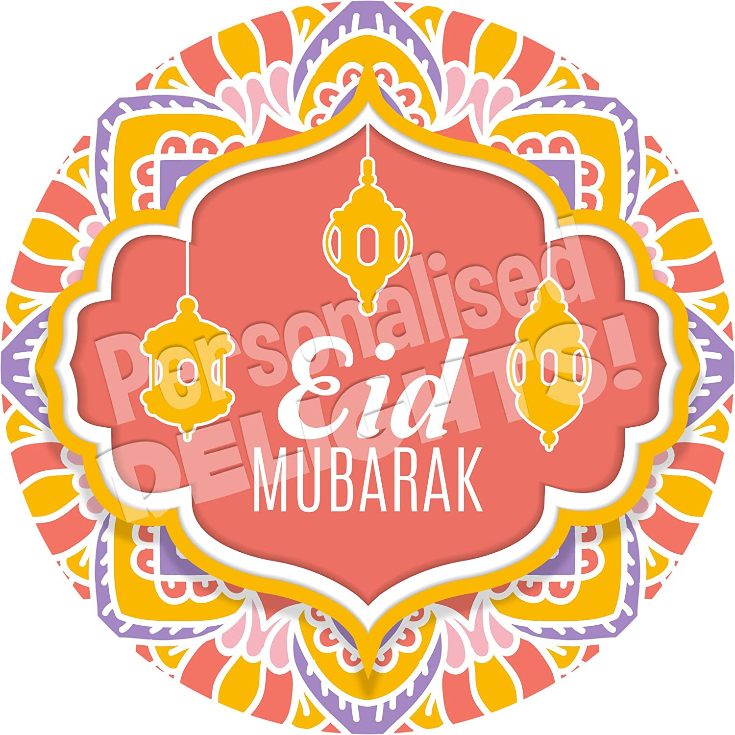 Crafts Jars Sweet Cones Presentations Gift Boxes NON PERSONALISED Seals Ideal for Party Bags Favours Eid Mubarak Mandala Ornament Sticker Labels Bottles 6 Stickers, 9.5cm Each