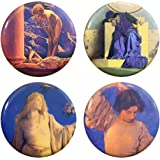 """Buttonsmith Maxfield Parrish Art Nouveau 1.25"""" Refrigerator Magnet Set - Made in the USA"""