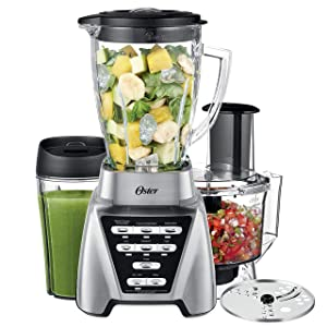 Oster Pro 1200 Blender with Glass Jar plus Smoothie Cup & Food Processor Attachment, Brushed Nickel (Renewed)