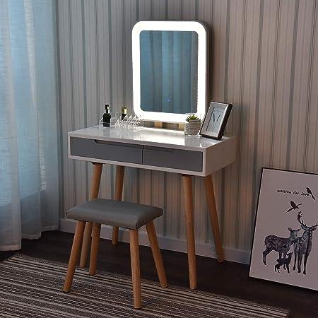 set da trucco bianco con specchio regolabile luminosit/à Tavolo da toeletta con specchio con luci a LED sgabello imbottito e organizer per trucchi Bianco+grigio+specchio ovale YOURLITE