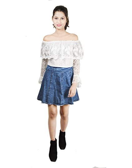 171a1ad650f1 Mitra Creations Women s Off-Shoulder Silk and Georgette Lace Denim Dress ( White and Dark