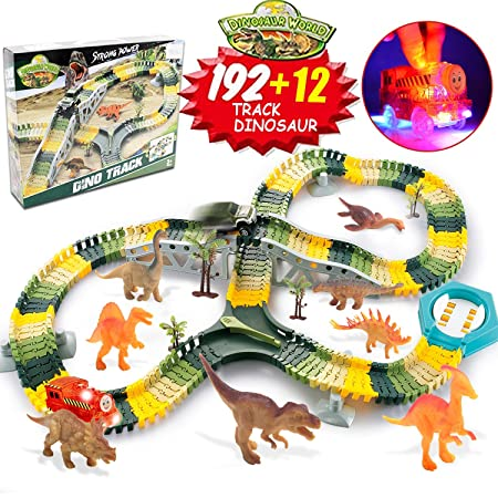 HOMOFY Dinosaur Toys 192pcs Slot Car Race Flexible Tracks 12 Dinosaurs,Create A Road Toys for 3 4 5 6 7 Year Old Boys Girls Toddlers Birthday Gifts