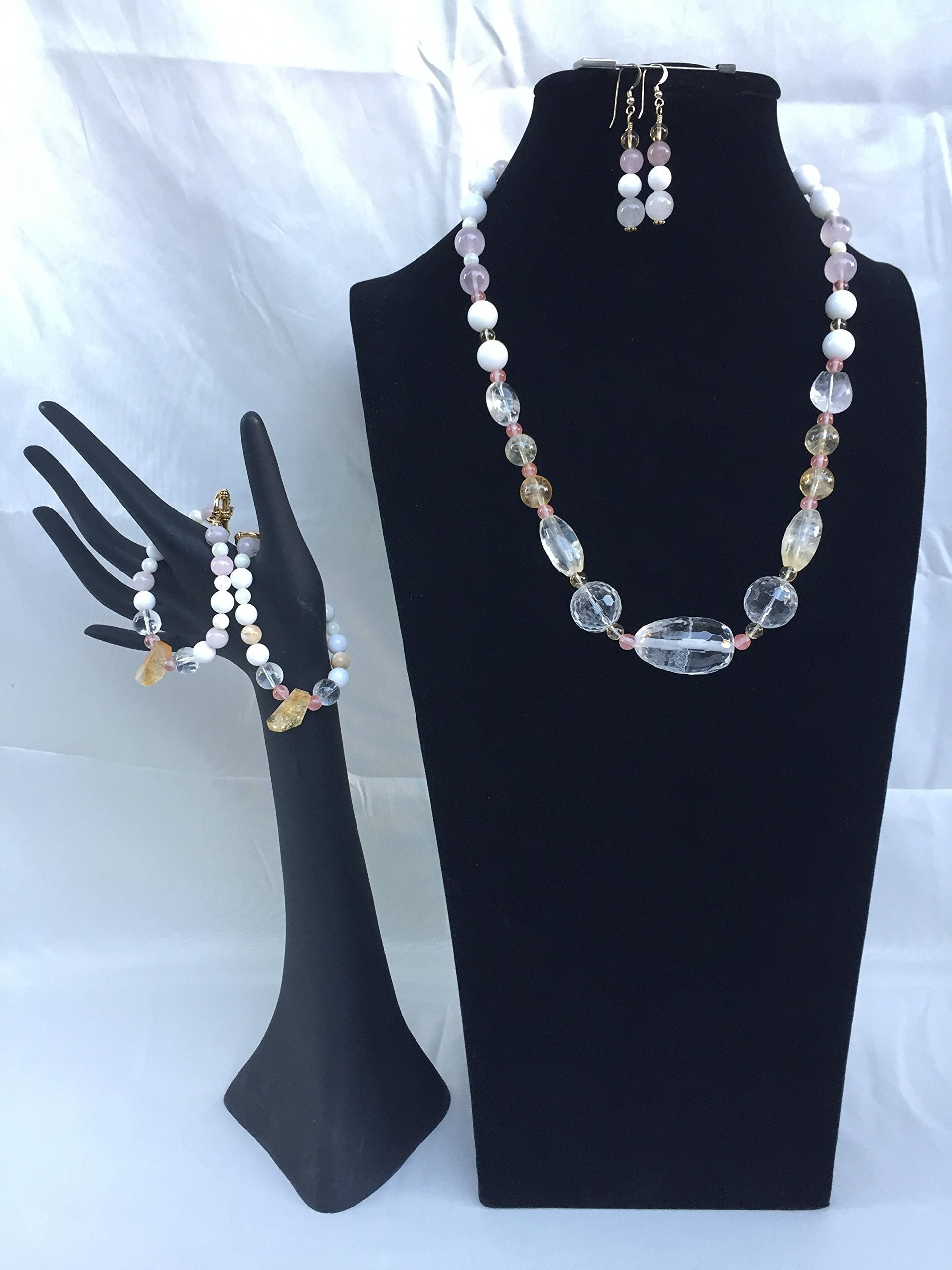 Crystal handmade gemstone jewelry set with a necklace, two bracelets and matching dangle earrings. Crystal and mixed gemstones. One of a kind