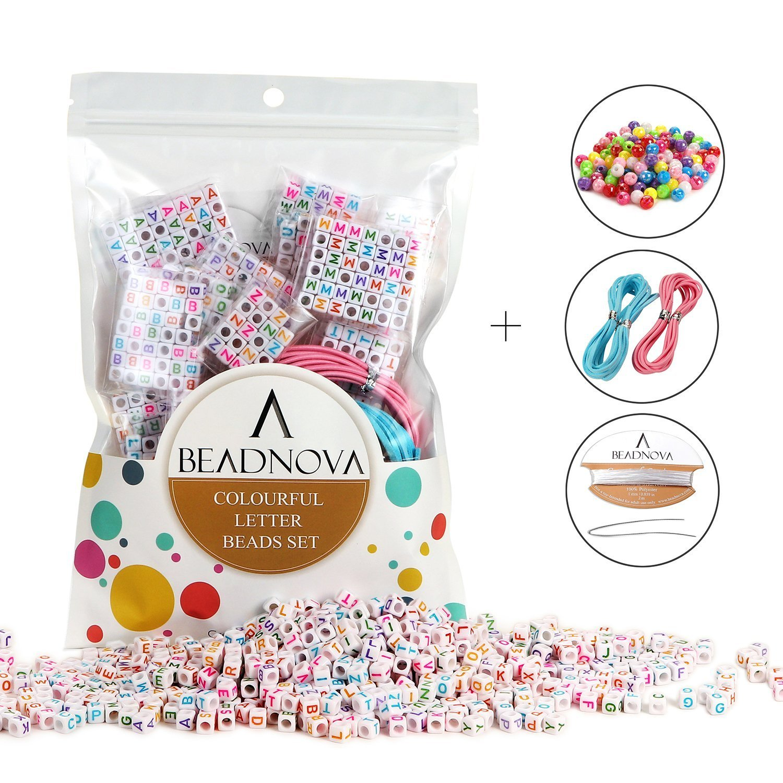BEADNOVA 800pcs アルファベット レター ビーズ 多色 キューブ ビーズ 子供ジュエリー製作用 ジュエリー紐 120pcs AB多色ビーズ付き 6mm 6MM Colored Letter Beads Set B076J7XQZL