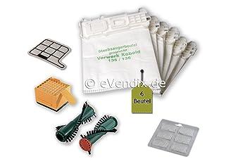 Filterset Bürsten 6 Filtertüten Beutel Vlies geeignet Vorwerk Kobold 135 136