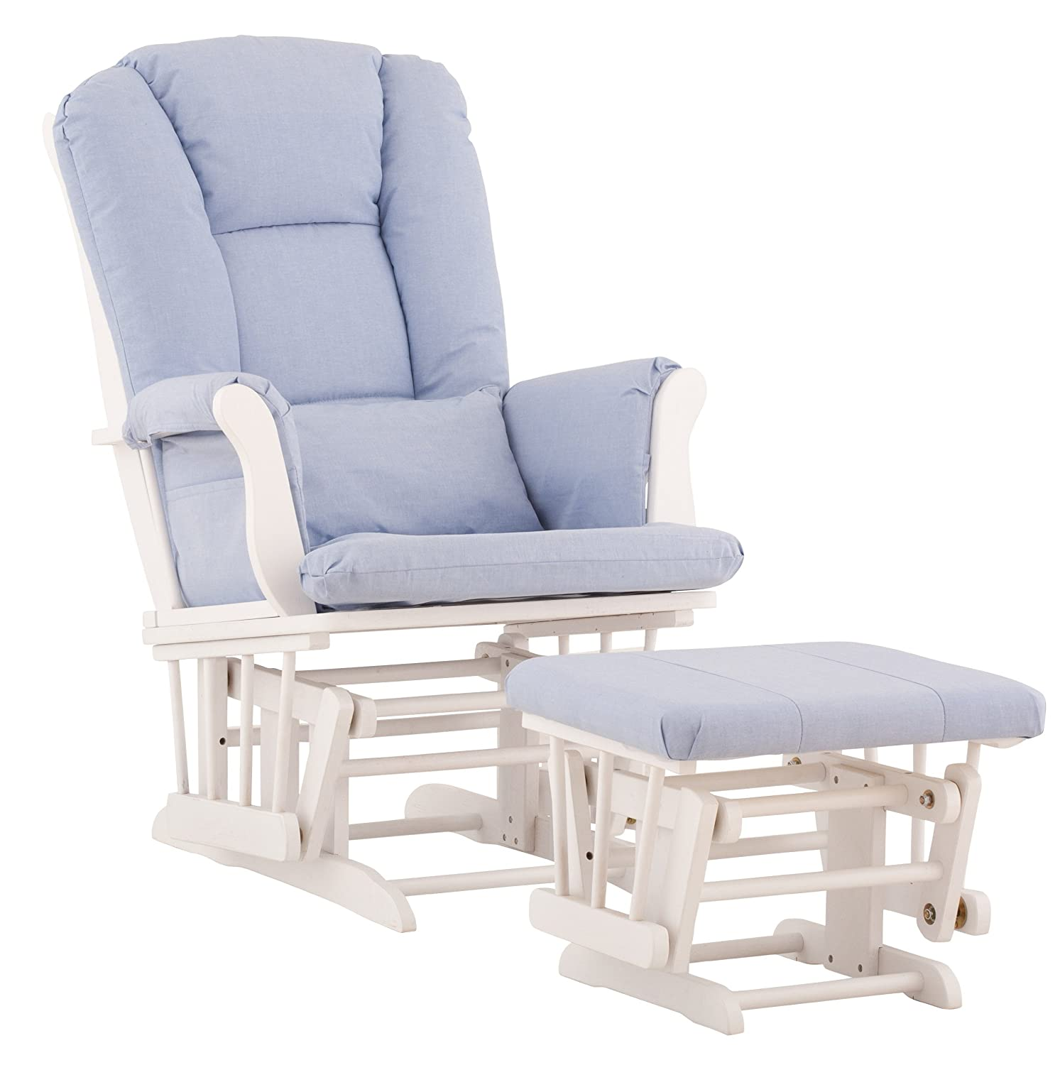 Superior Amazon.com: Stork Craft Tuscany Custom Glider And Ottoman With Free Lumbar  Pillow, White/Blue: Baby
