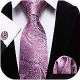 Barry.Wang Men Tie Set Paisley Solid Silk Necktie Pocket Square Cufflinks Extra Long Tie Formal Wedding