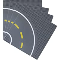 """Road Baseplates 10"""" x 10"""" Building Brick Base Plate by Strictly Briks   100% Compatible with All Major Brands   Building Bases for City Roads, Towns and Garages and More   4 Curved Road Baseplates"""