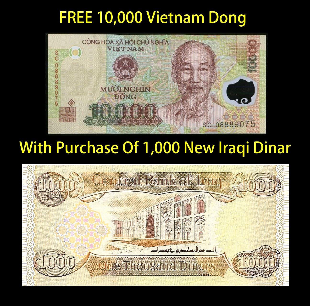 10000 20 x 10,000 UNC VND 1//5th Million Vietnam Dong Banknotes Currency Lot