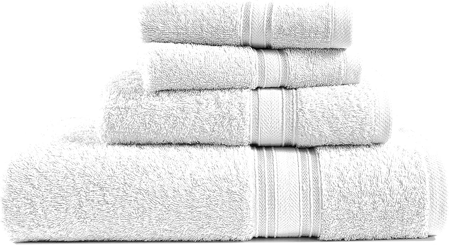 Luxurious 4 Piece White Bath Towels Set 600 GSM, 100% Combed Cotton Highly Absorbent and Quick Dry Extra Large Bath Towels, Hotel Towels (1 Bath Towel, 1 Hand Towel and 2 Washcloths) - White