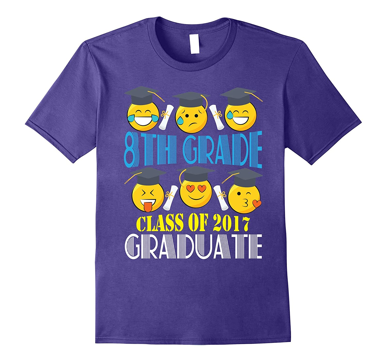 8TH Grade Class Of 2017 Graduate With Cute Emoji T-Shirt-PL