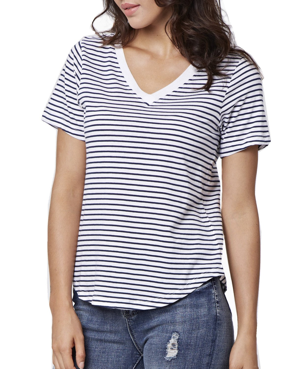 ENIDMIL Women's Striped T-Shirt Tee 100% Cotton(Blue-V,XL)