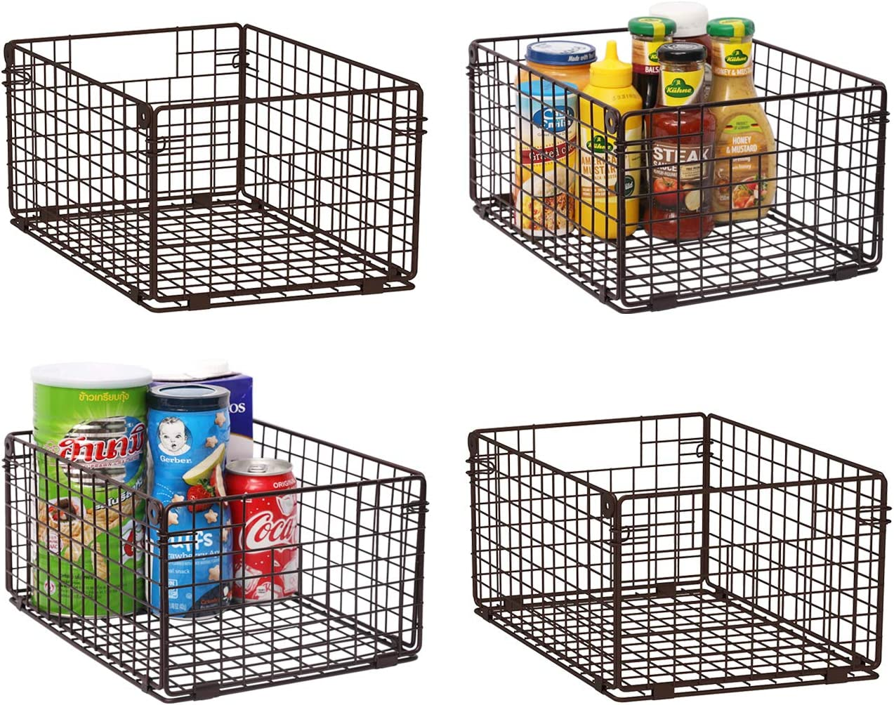 """X-cosrack Foldable Cabinet Wall Mount Metal Wire Basket Organizer with Handles - 4 Pack,12x9X6""""Farmhouse Food Storage Mesh Bin for Kitchen Pantry Bathroom Closet Garage-Patent Applied-Coffee Brown"""