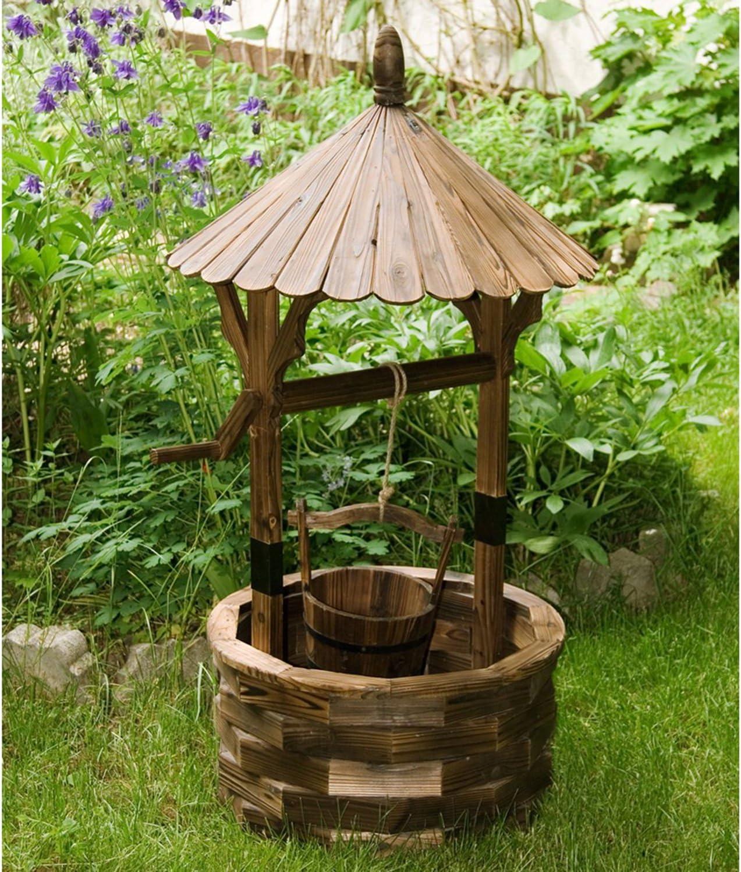 Maxstore - Pozo con techo para jardín (madera, altura 120 cm, diámetro 65 cm, barnizado y con tratamiento ignífugo), color marrón: Amazon.es: Hogar