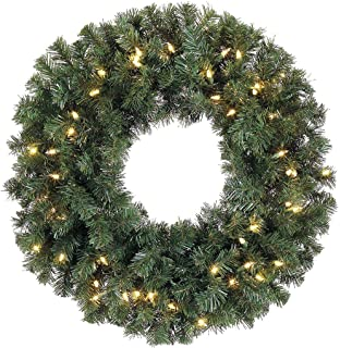 30 inch battery operated cordless pre lit christmas pine wreath with 50 led clear lights - Battery Operated Christmas Wreaths