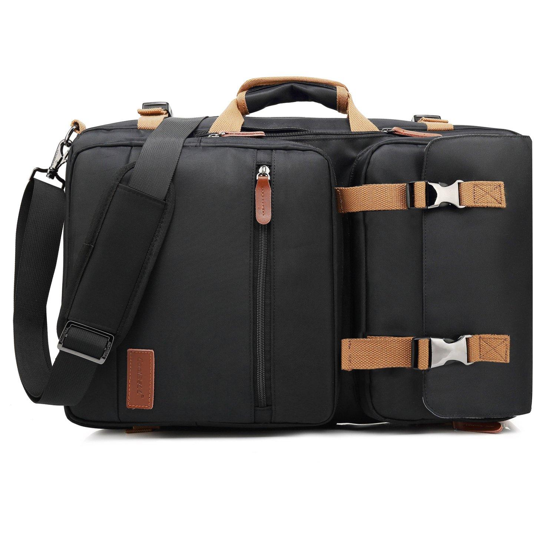 CoolBELL Convertible Briefcase Backpack Messenger Bag Shoulder Bag Laptop Case Business Briefcase Travel Rucksack Multi-Functional Handbag Fits 17.3 Inch Laptop for Men/Women (Black)